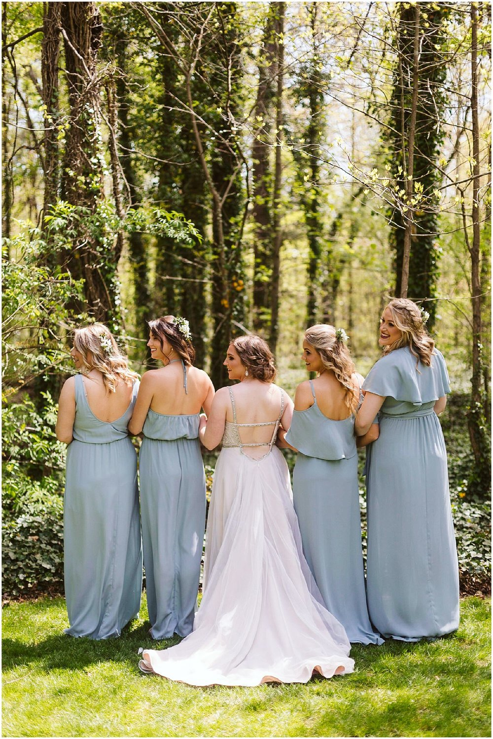 back of bridesmaids' dresses