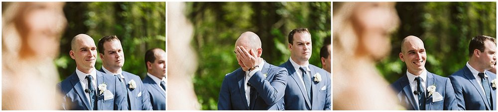 groom crying during wedding