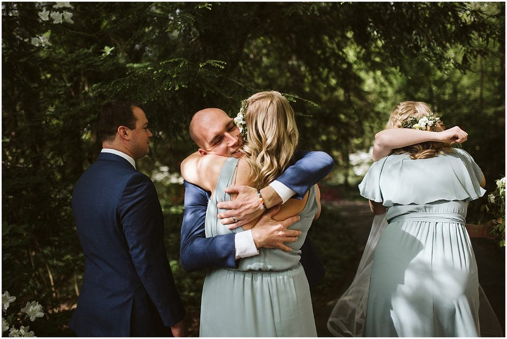 hugs after wedding ceremony
