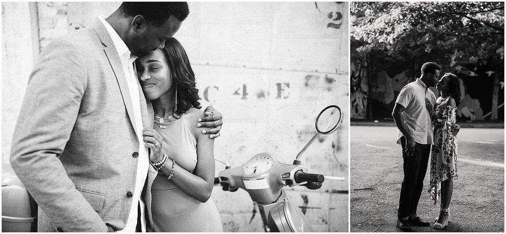 black and white atlanta engagement photos