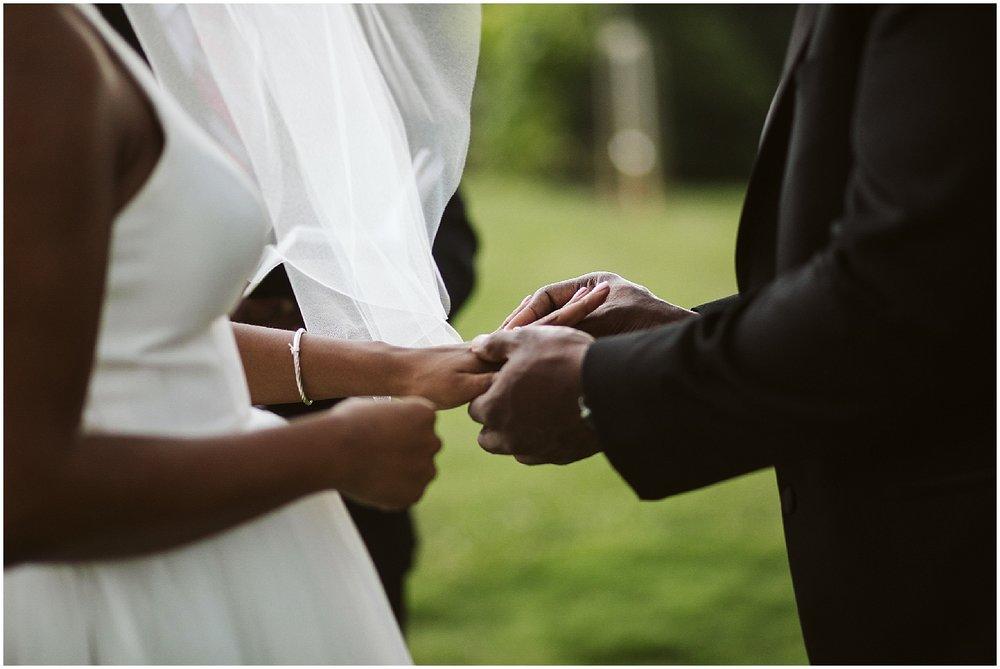 exchanging rings during chateau elan wedding