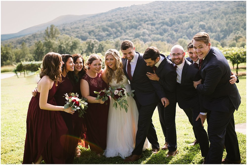 bridal party at debarge winery