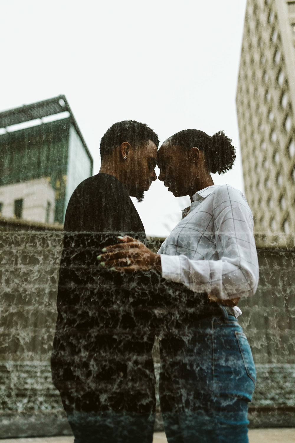 double exposure waterfall engagement session