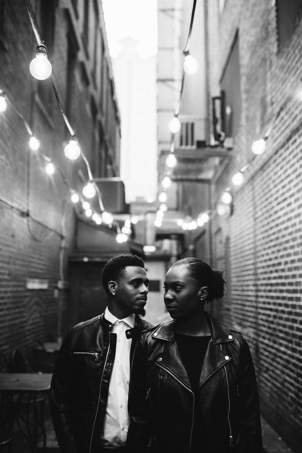 black couple downtown atlanta engagement session