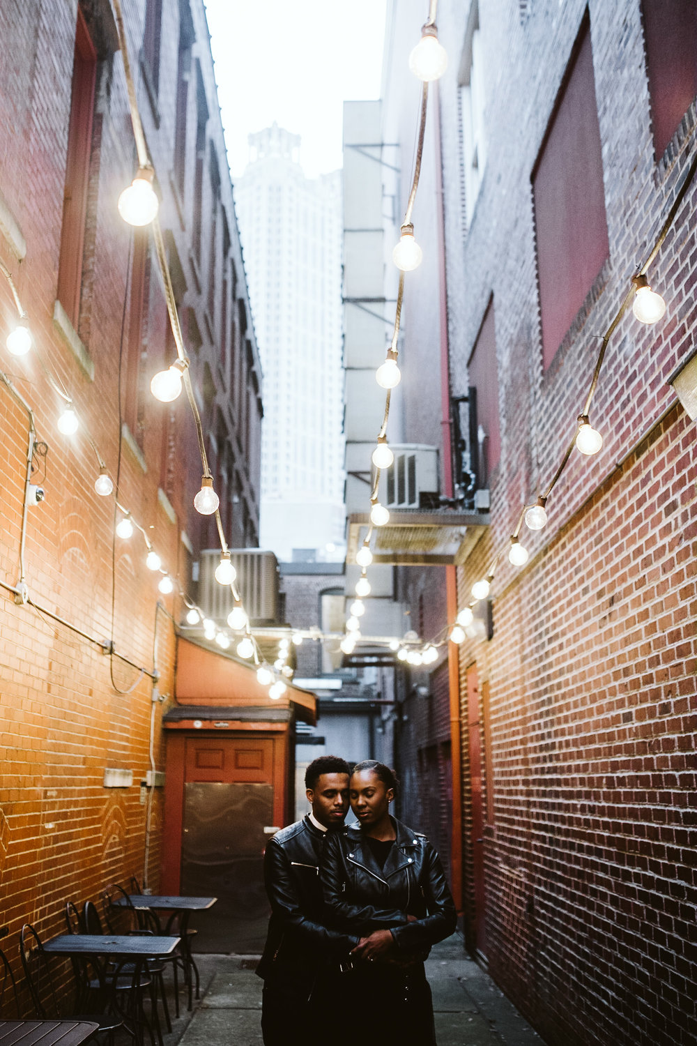winter engagement session downtown atlanta