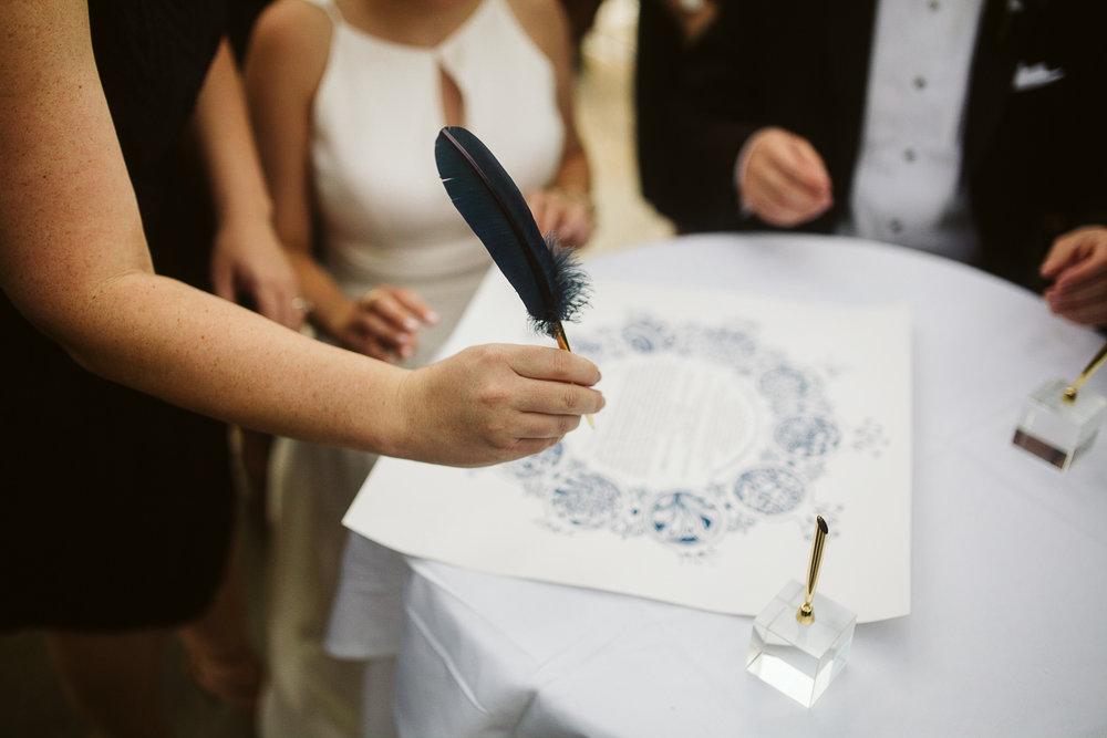 custom ketubah signing at jewish wedding