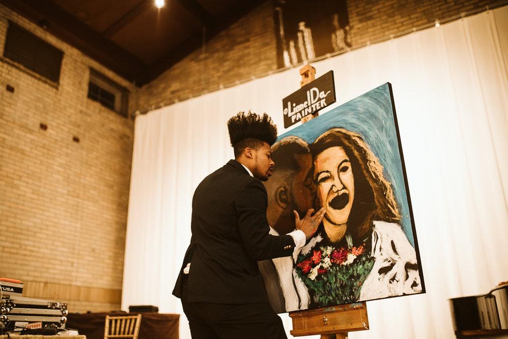 live painter during washington dc wedding at st francis hall