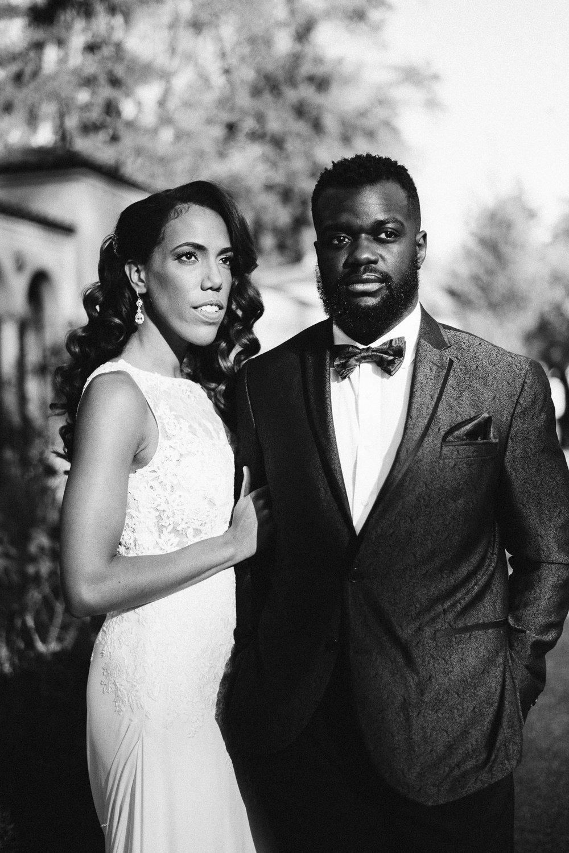 black bride and groom at st francis hall wedding