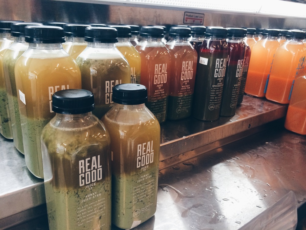 Anna showed me the goodness that is Real Good Juice. Juice is nice, but it is their absolutely HILARIOUS drink names that got me hooked.