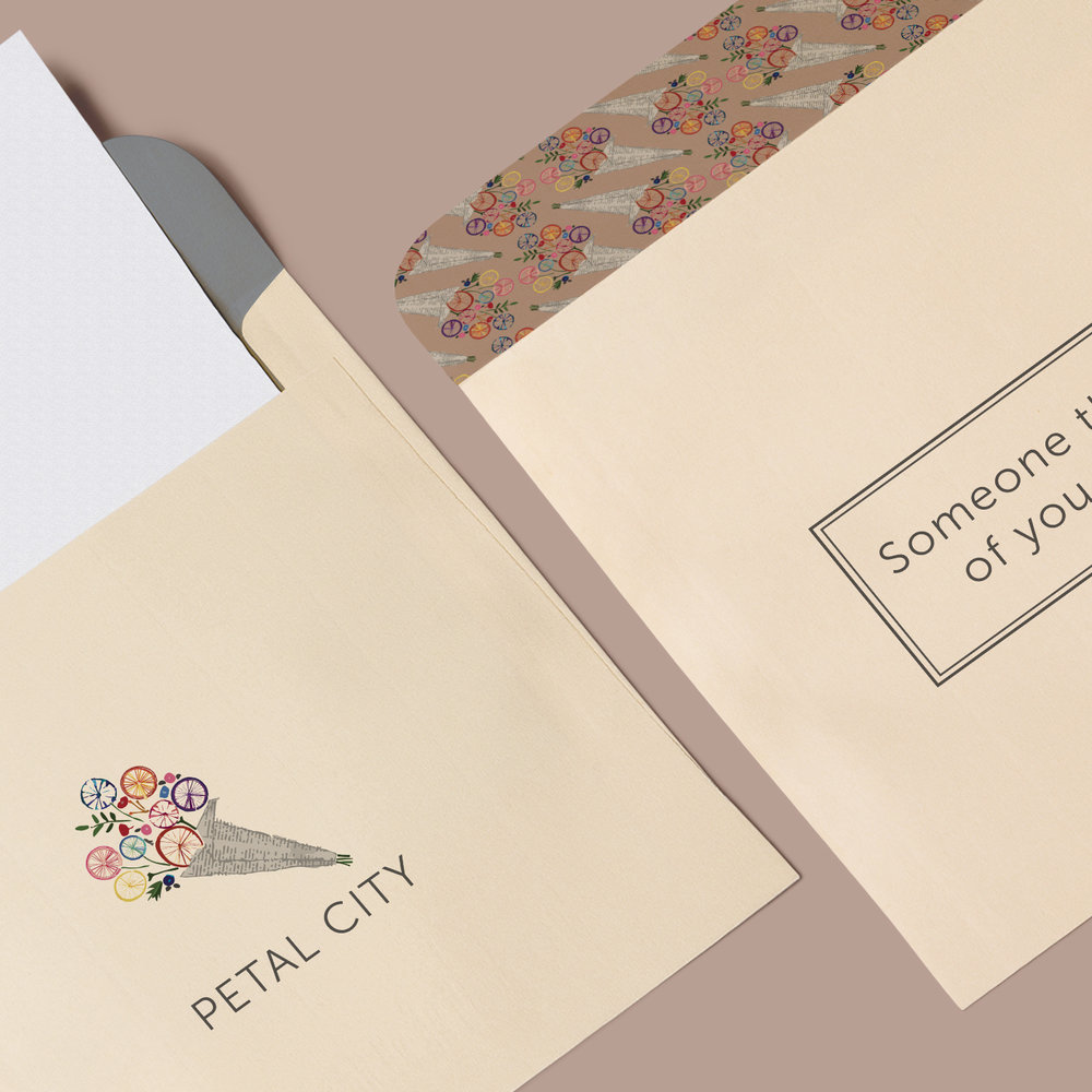 PETAL CITY Petal City offers same-day flower delivery throughout Seattle. The bicycle bouquet logo was inspired by the local deliveries made on bikes. Along with logos and color and typography guidelines, this project included a brand pattern to use on business collateral.
