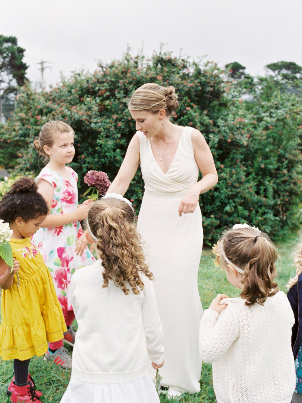Bride with flower girls in Oregon