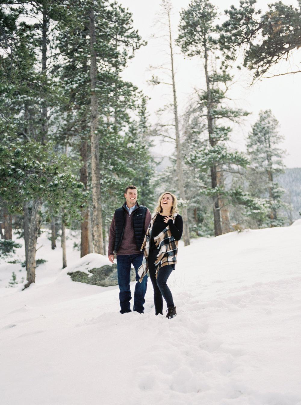 Colorado Winter Engagement Session - Fine Art Film Photographer Tara Bielecki Photography