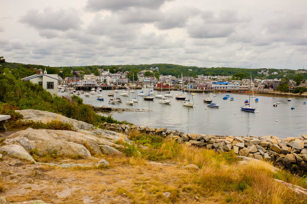 Late afternoon view of harbor of Rockport, Massachusetts.