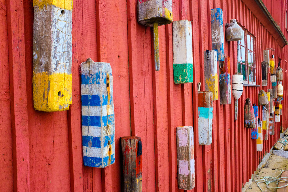 """Decorated"" side of the world's most celebrated fishing shack (Motif Number 1) on Bradley Wharf in Rockport, Massachusetts."