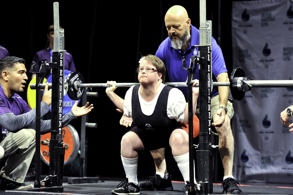 Maryland powerlifter competing at the Meanie Hall for the Performing Arts of the University of Washington.