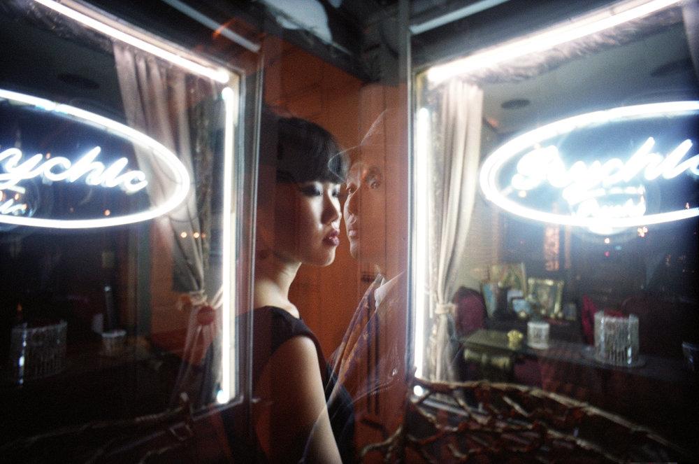 wong kar wai inspired engagement shoot indonesian bushwick LES new york logo tomography i shoot film minolta srt101 portra fuji projector chellise michael photography