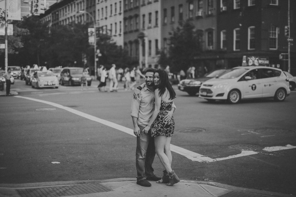 NYC wedding street cab crosswalk love make portraits Chellise Michael.jpg