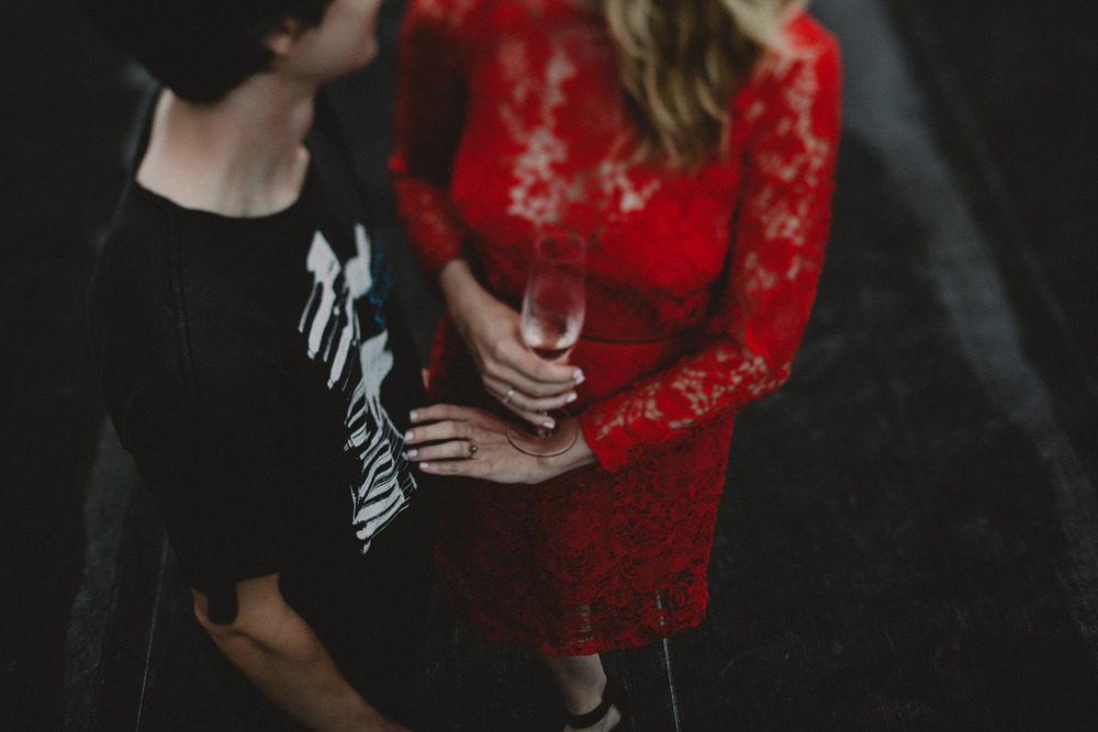 indie hipster brooklyn engagement photography top wedding photographer nyc red lace dress film