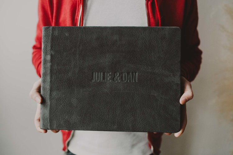 12x9 in storm lux leather with custom font franklin bold