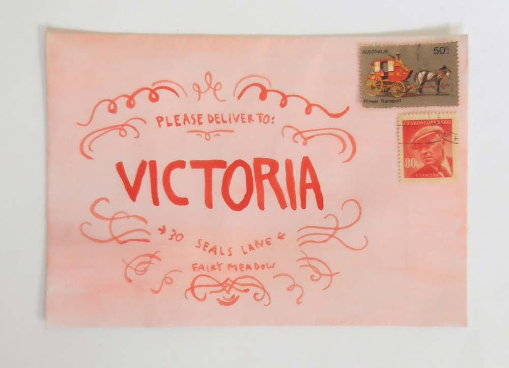 "This envelope is one of my favorite examples of fan art made with inspiration from Wes Anderson's  ""  The Grand Budapest Hotel.""  Tips from the artist's blog,   Thimble  : ""All you have to do is paint an envelope salmon pink with watercolors, allow it to dry, then use red paint to do a simplified version of the Mendl's box design."""