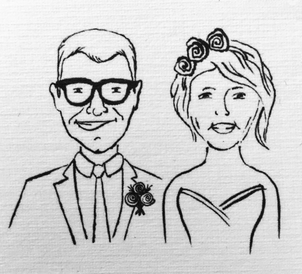 A drawn portrait of Joe and Frances.