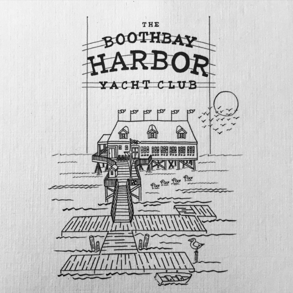 The Boothbay Harbor Yacht Club, drawn from multiple photographs.