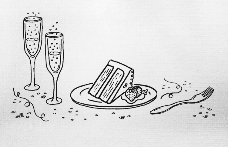 For the second-reception card, a scene of celebration — effervescent champagne, sliced cake with berries, and confetti.