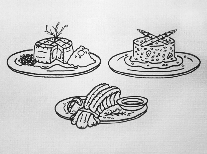 Reception dinner menu, in drawings. Clockwise from top left, a plate of filet mignon with peas and mashed potatoes, a creamy mushroom risotto with asparagus spears, and lobster tail with lemon butter.