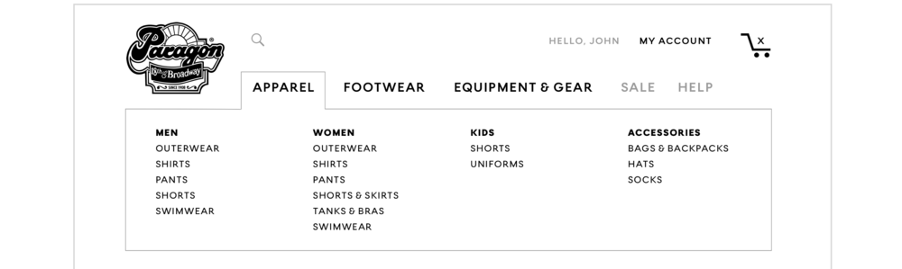 "Top navigation includes ""Apparel"" dropdown."