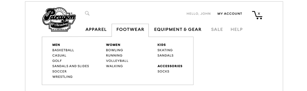 "Top navigation includes ""Footwear"" dropdown."