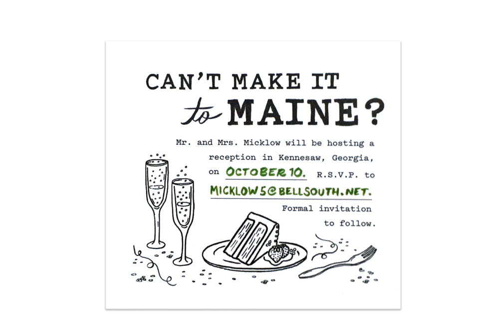 """The secondary """"Can't Make it to Maine"""" card for those who couldn't make it to the wedding."""