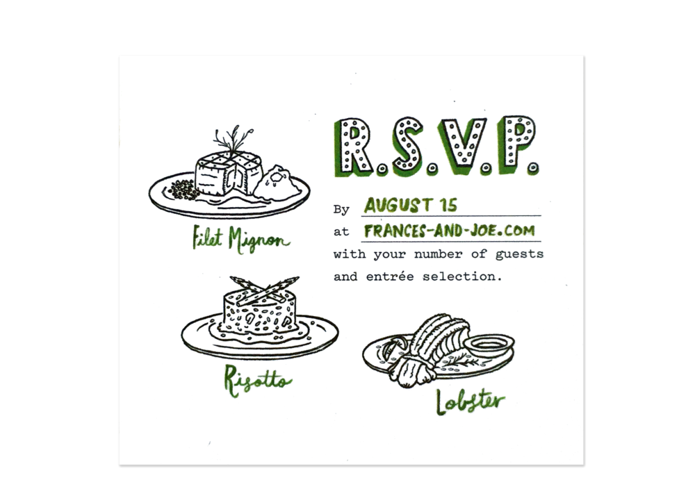 The R.S.V.P. card, with hand-drawn menu items.