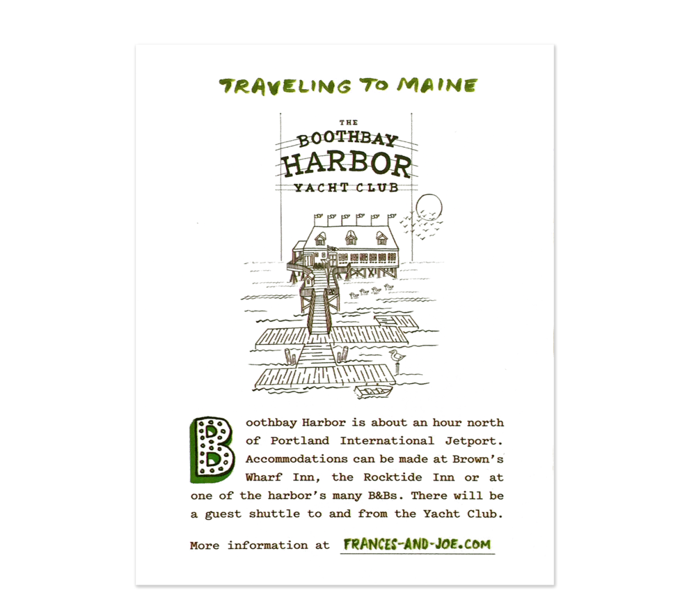 """The """"Traveling To Maine"""" card includes directions to the wedding site."""