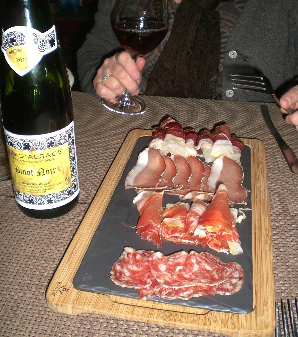 Charcuterie plate and 2010 Schueller Pinot Noir, Sezanne Epicerie, Colmar, France