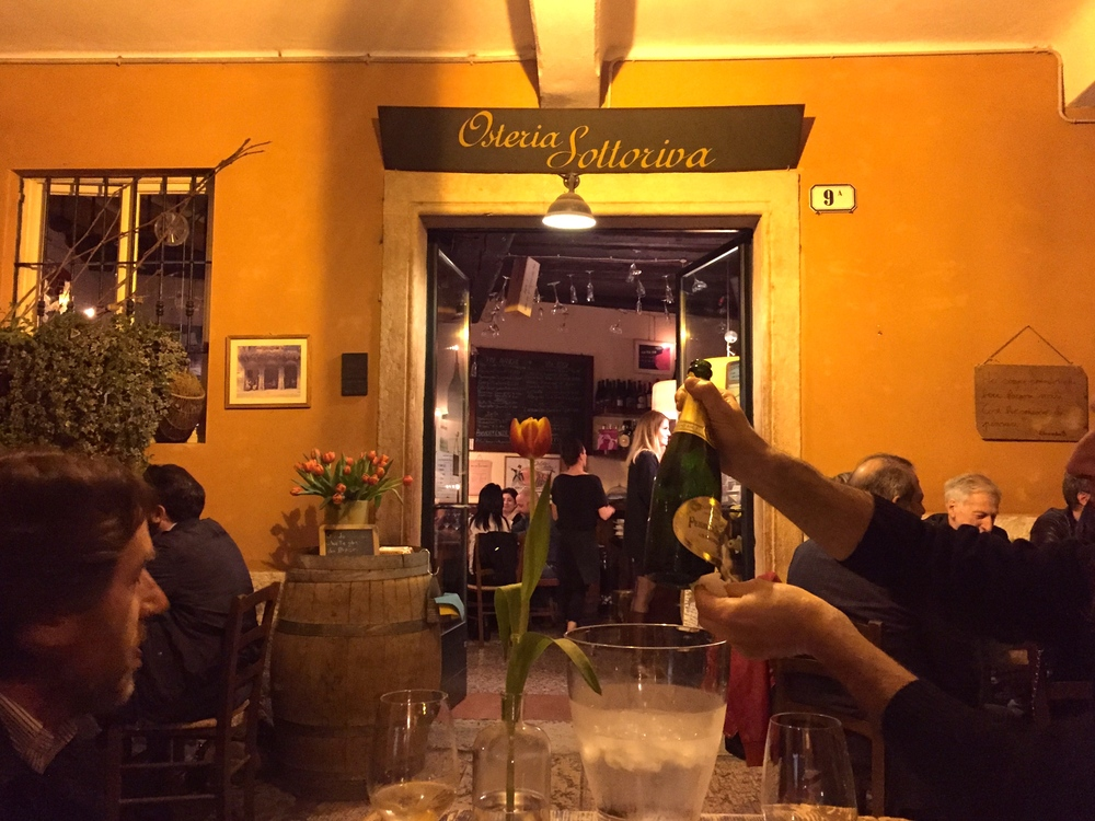 Perrier-Jouet Champagne at Osteria Sottoriva, Verona, Italy