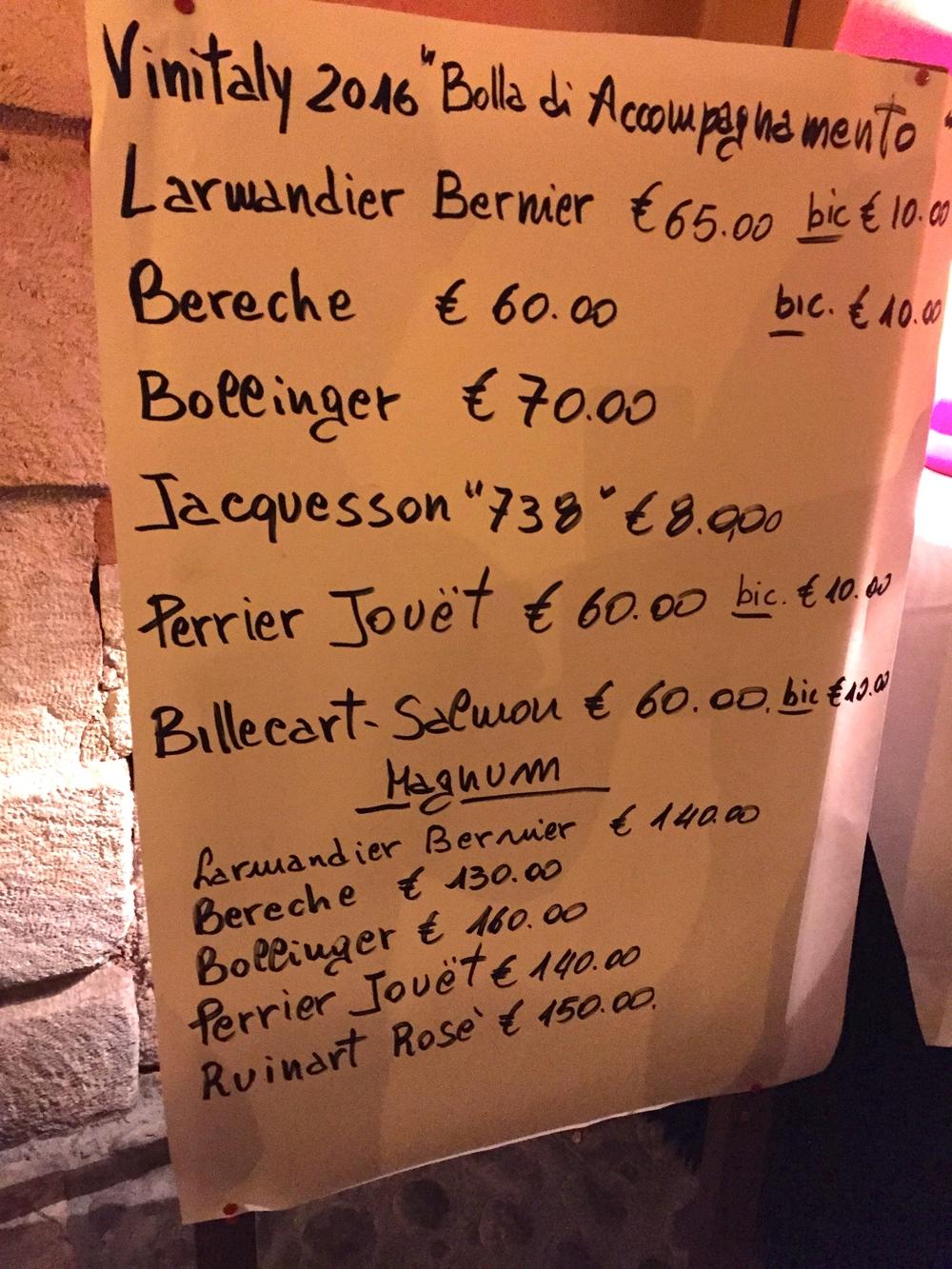 Champagne Menu, Osteria Sottoriva, Verona, Italy