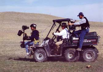 Steadicam. Chasing buffalos in North Dakota.