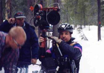 Shooting hi-speed Steadicam shot in the snow on a snowmobile.