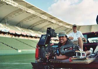 Steadicam. Chevy Truck commercial with Howie Long.