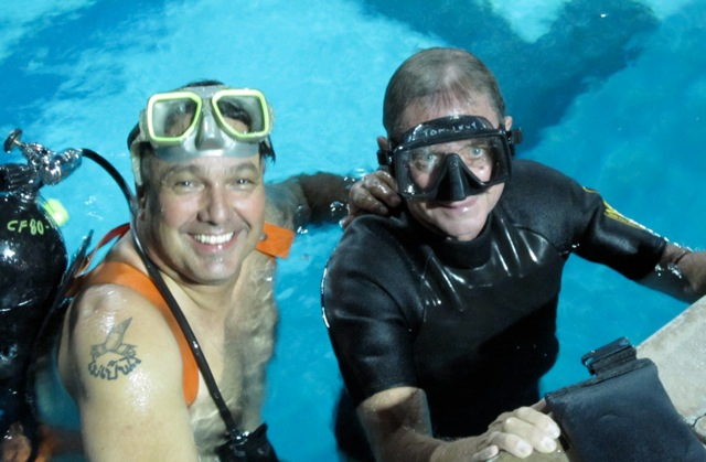 Tom Levy and I working underwater.    Great times with Tom