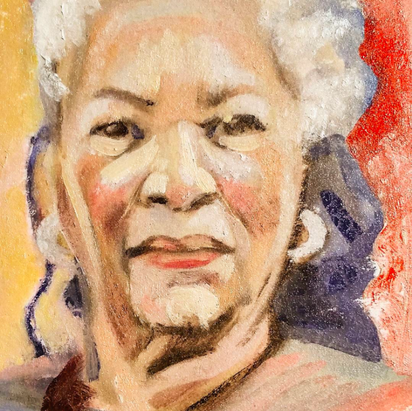 (Above)Twenty minute study of author Toni Morrison done last week... Which I revisited for a while yesterday just to see where it would go. (Below)