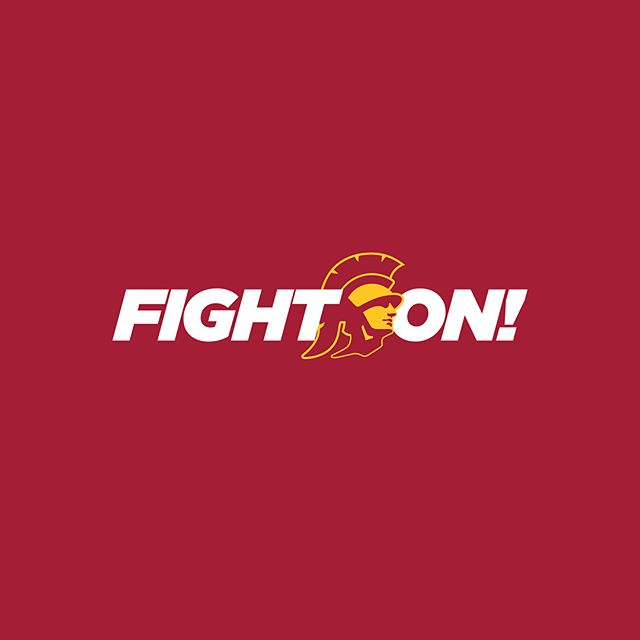 A new #FightOn wordmark for the squad! Featuring the USC Athletics Trojan head, hashtag and secondary color options. ✌🏽