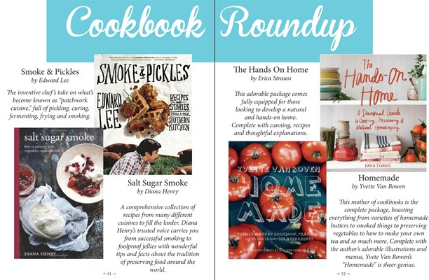 "A cookbook roundup spread from the ""CURE"" issue."