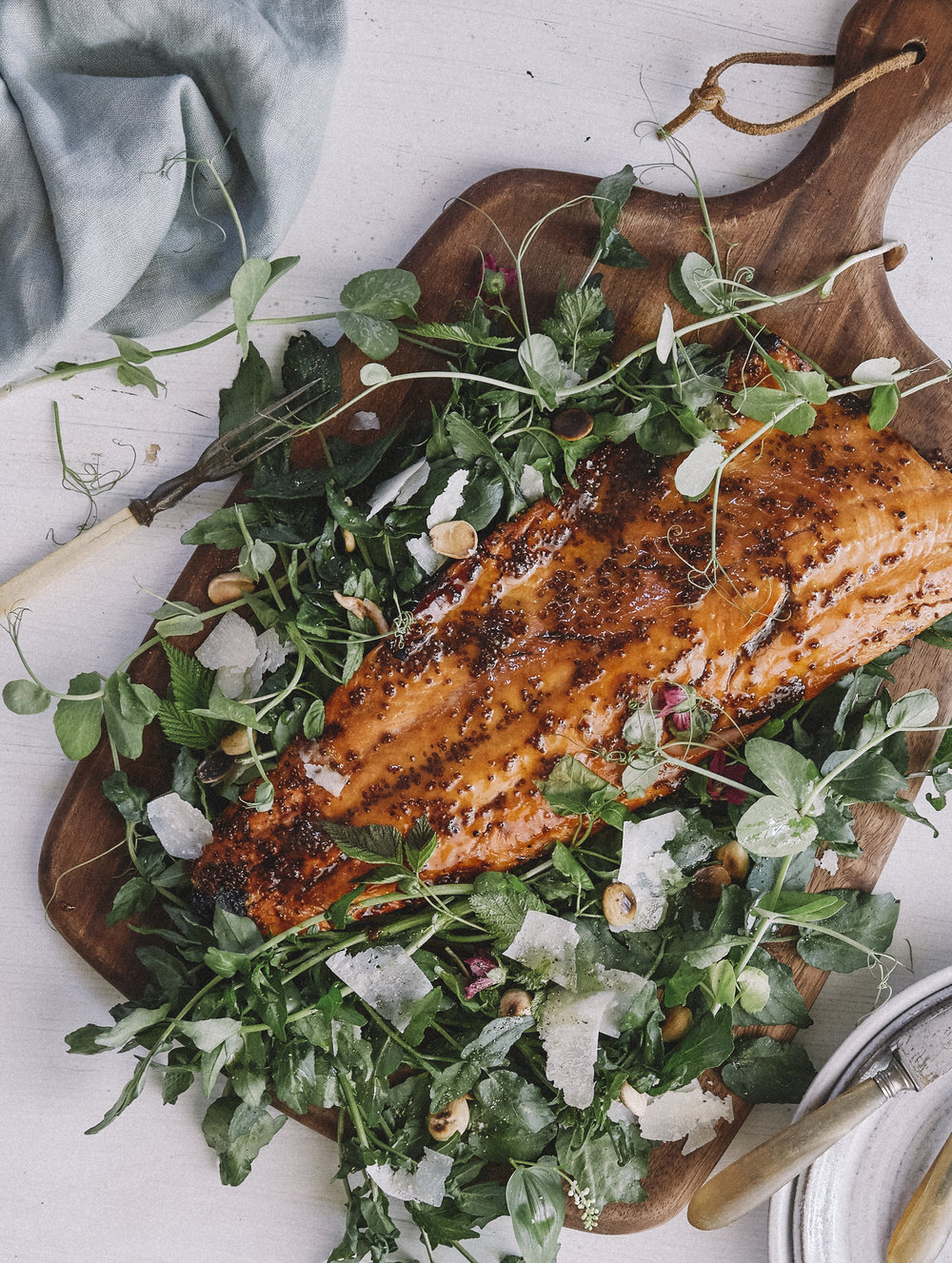 Wild Alaskan Copper River Salmon basted in Whole-Grain Mustard and our own Big Leaf Maple Syrup over a salad of foraged things (details below), & pea tendrils from the garden.
