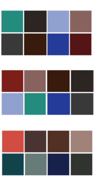 Samples of color palettes for brand redesign