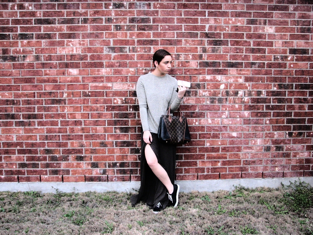 Target Sweater- Zara USA wide leg pants - Lulus sports shoes - Louis Vuitton bag - Cartier sunglasses