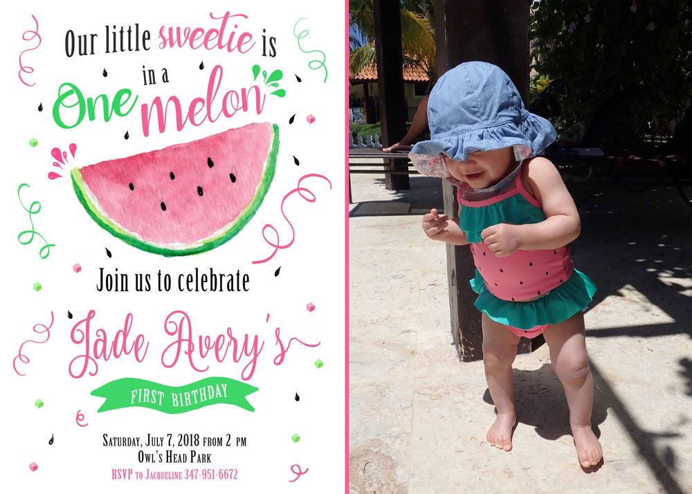 One In Melon Birthday Invitation