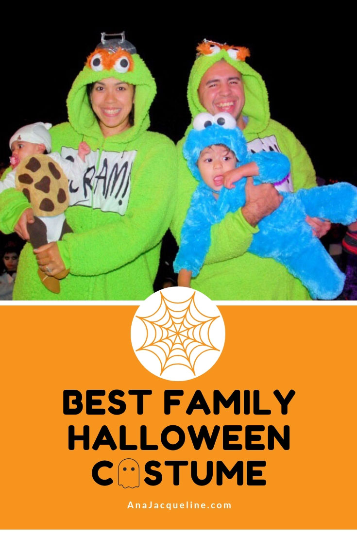 Best Family Halloween Costumes | Mr. and Mrs. Grouch | Cookie Monster costume | DIY Cookie costume |DIY cookie costume baby | DIY baby halloween costume | Sesame Street family halloween costumes | Halloween costumes | #familyhalloweencostumes | #diycookiecostume | AnaJacqueline.com