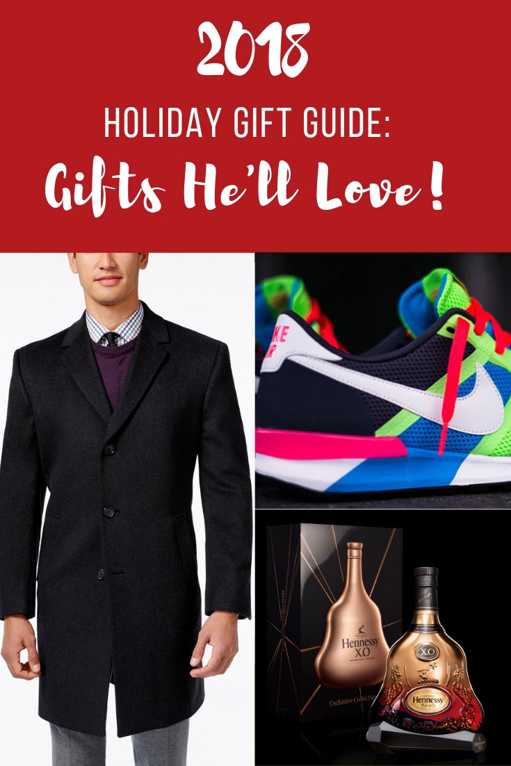 2018 Holiday Gift Guide | 2018 Holiday Gift Guide For Him | 2018 Gifts He'll Love | Gifts For Men | Secret Santa Gift Ideas | Best Gifts Men | Nike Air Pegasus | Nike Air Pegasus 83/30 | Hennessy | RL Men Accessories | Water Proof Speakers Kenneth Cole Wool Coat Men | www.AnaJacqueline.com