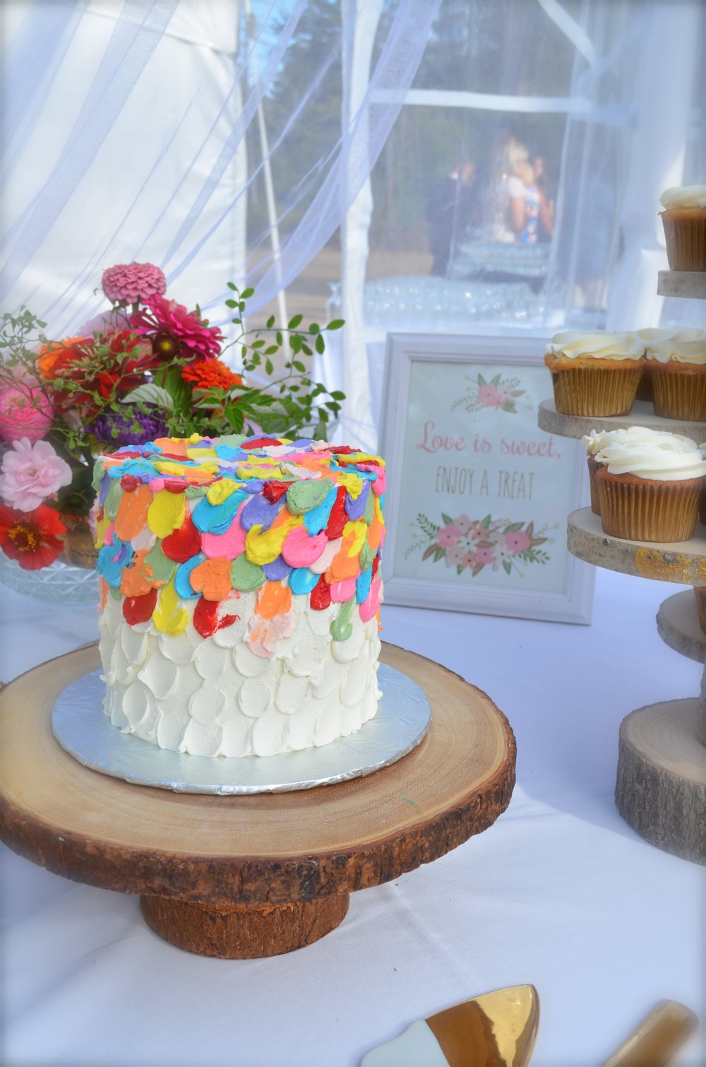 Multi coloured buttercream drops Cake